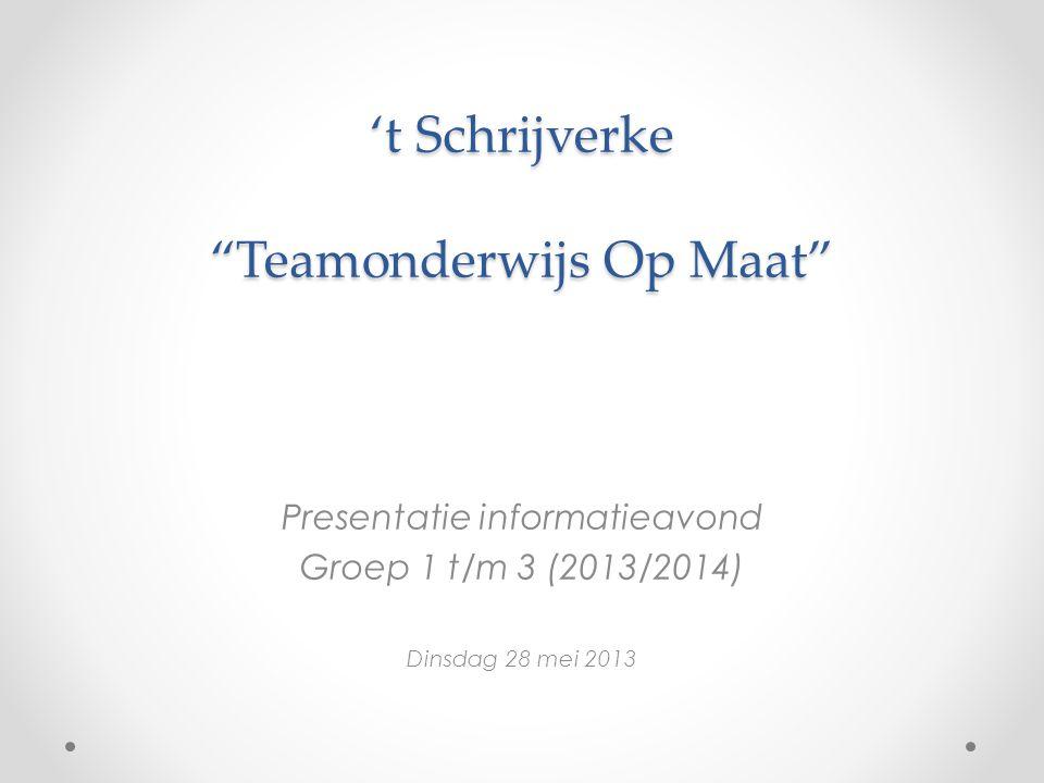 't Schrijverke Teamonderwijs Op Maat Presentatie informatieavond Groep 1 t/m 3 (2013/2014) Dinsdag 28 mei 2013