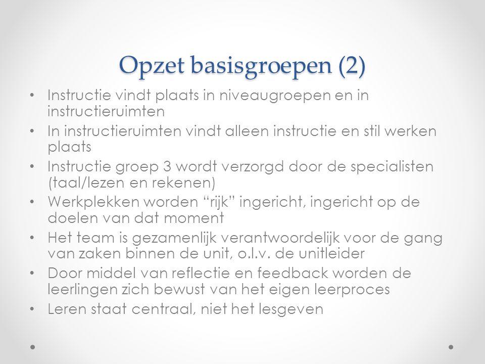 Opzet basisgroepen (2) • Instructie vindt plaats in niveaugroepen en in instructieruimten • In instructieruimten vindt alleen instructie en stil werke