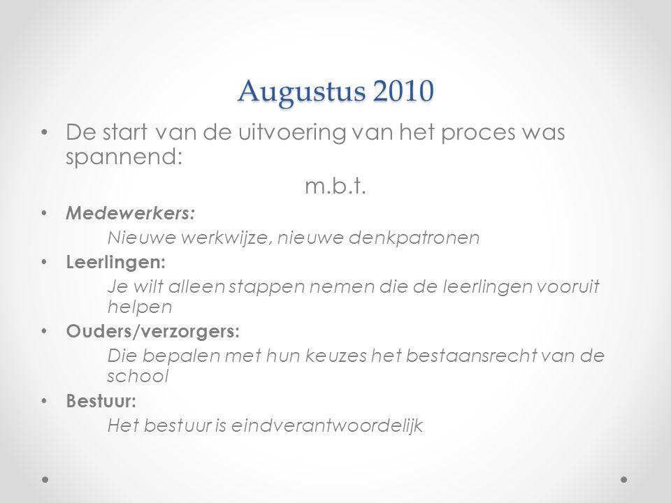 Augustus 2010 • De start van de uitvoering van het proces was spannend: m.b.t. • Medewerkers: Nieuwe werkwijze, nieuwe denkpatronen • Leerlingen: Je w