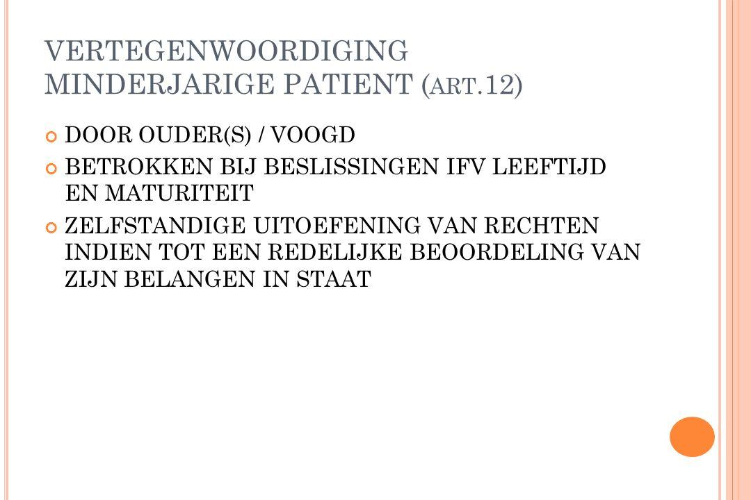 VERTEGENWOORDIGING ONBEKWAME MEERDERJARIGE ONDER BESCHERMINGSSTATUUT VAN VERLENGD MINDERJARIGE OF ONBEKWAAMVERKLARING RECHTEN WORDEN UITGEOEFEND DOOR VOOGD (art.13)