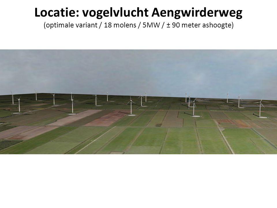 Locatie: vogelvlucht Aengwirderweg (optimale variant / 18 molens / 5MW / ± 90 meter ashoogte)
