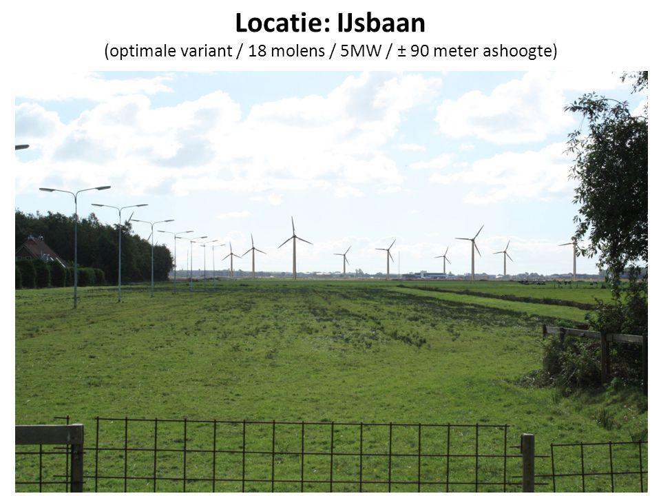 Locatie: IJsbaan (optimale variant / 18 molens / 5MW / ± 90 meter ashoogte)