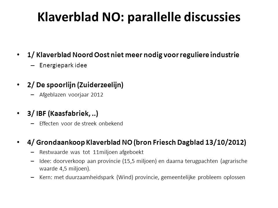 Klaverblad NO: parallelle discussies • 1/ Klaverblad Noord Oost niet meer nodig voor reguliere industrie – Energiepark idee • 2/ De spoorlijn (Zuiderzeelijn) – Afgeblazen voorjaar 2012 • 3/ IBF (Kaasfabriek,..) – Effecten voor de streek onbekend • 4/ Grondaankoop Klaverblad NO (bron Friesch Dagblad 13/10/2012) – Restwaarde was tot 11miljoen afgeboekt – Idee: doorverkoop aan provincie (15,5 miljoen) en daarna terugpachten (agrarische waarde 4,5 miljoen).
