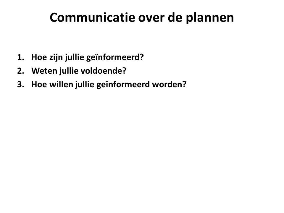 Communicatie over de plannen 1.Hoe zijn jullie geïnformeerd.