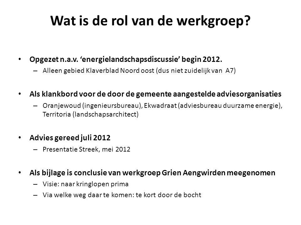 Wat is de rol van de werkgroep. • Opgezet n.a.v. 'energielandschapsdiscussie' begin 2012.