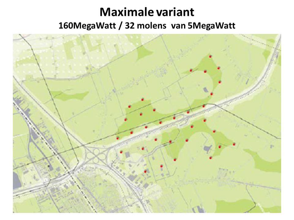 Maximale variant 160MegaWatt / 32 molens van 5MegaWatt