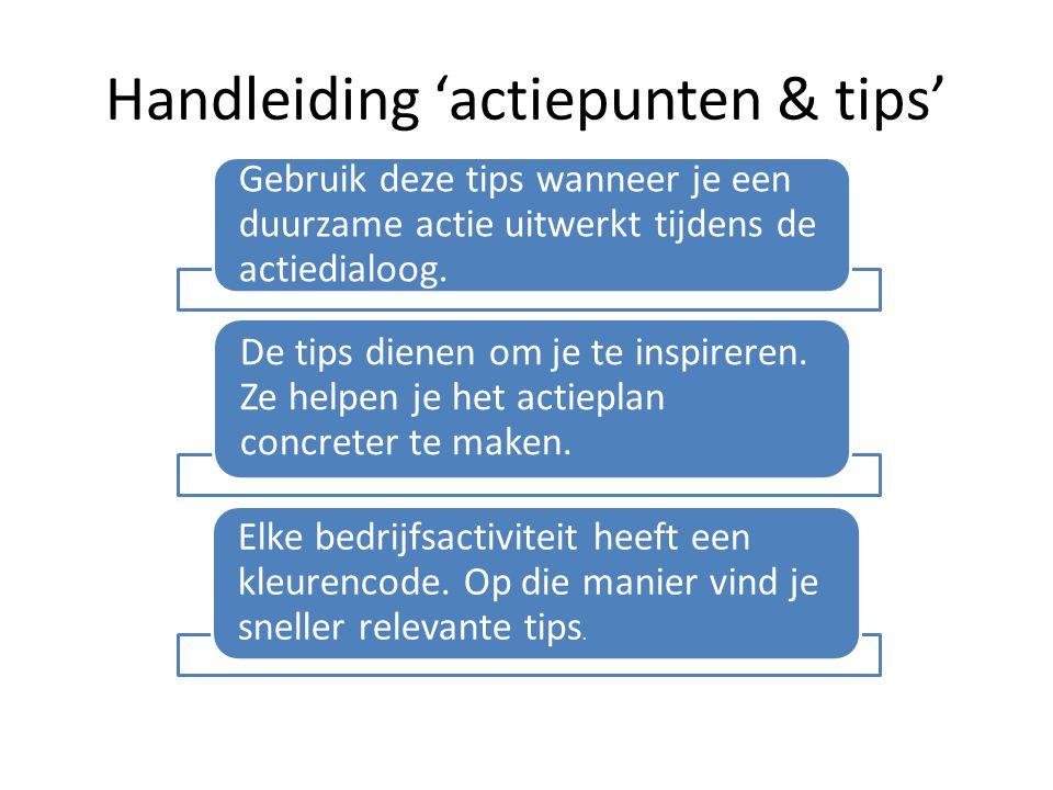 Handleiding 'actiepunten & tips' Gebruik deze tips wanneer je een duurzame actie uitwerkt tijdens de actiedialoog. De tips dienen om je te inspireren.