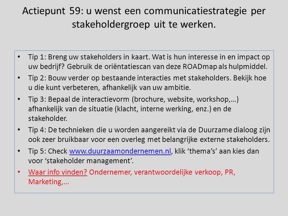 Actiepunt 59: u wenst een communicatiestrategie per stakeholdergroep uit te werken. • Tip 1: Breng uw stakeholders in kaart. Wat is hun interesse in e