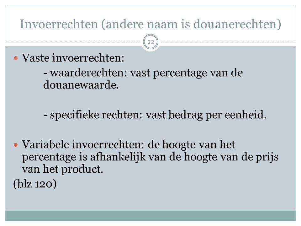 Invoerrechten (andere naam is douanerechten)  Vaste invoerrechten: - waarderechten: vast percentage van de douanewaarde. - specifieke rechten: vast b