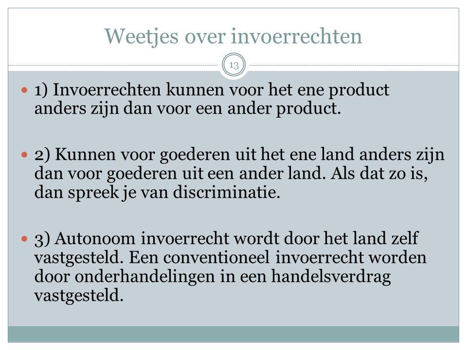 Weetjes over invoerrechten  1) Invoerrechten kunnen voor het ene product anders zijn dan voor een ander product.  2) Kunnen voor goederen uit het en