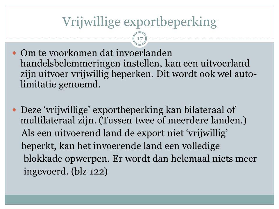 Vrijwillige exportbeperking  Om te voorkomen dat invoerlanden handelsbelemmeringen instellen, kan een uitvoerland zijn uitvoer vrijwillig beperken. D