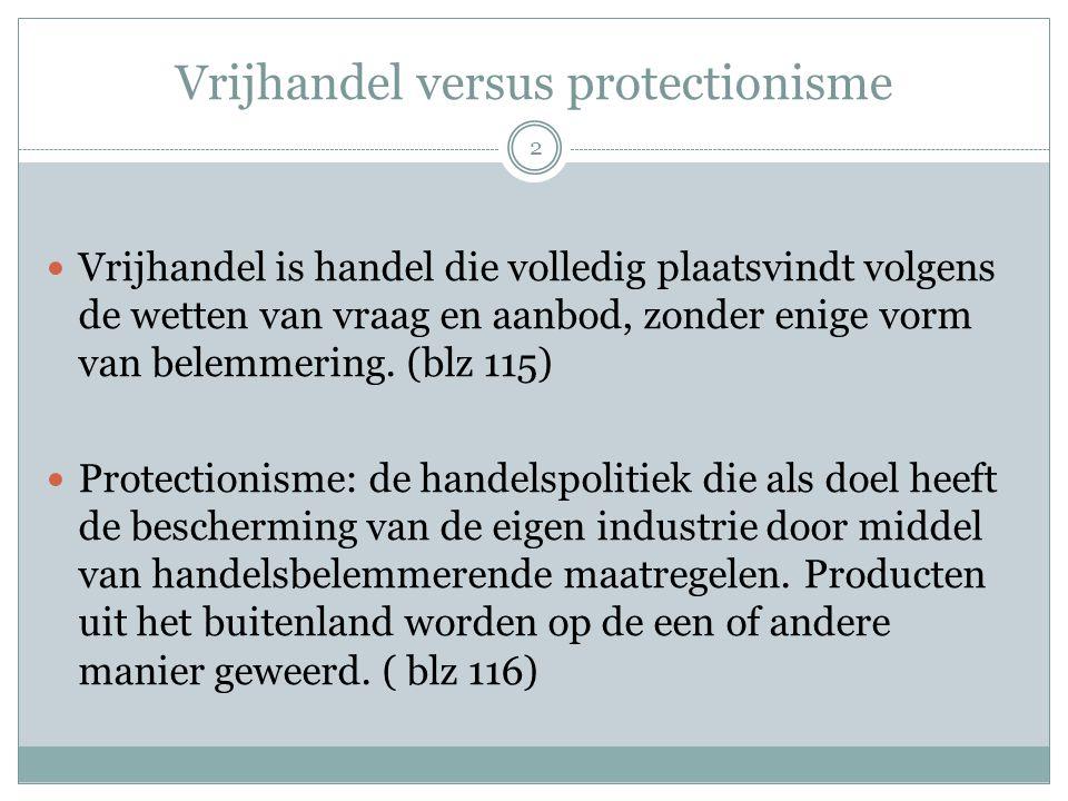 Vrijhandel versus protectionisme  Vrijhandel is handel die volledig plaatsvindt volgens de wetten van vraag en aanbod, zonder enige vorm van belemmer