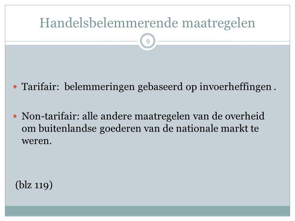Handelsbelemmerende maatregelen  Tarifair: belemmeringen gebaseerd op invoerheffingen.  Non-tarifair: alle andere maatregelen van de overheid om bui