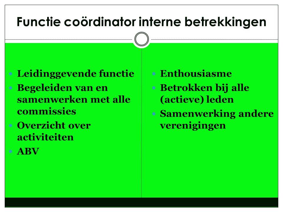 Functie coördinator interne betrekkingen  Leidinggevende functie  Begeleiden van en samenwerken met alle commissies  Overzicht over activiteiten 