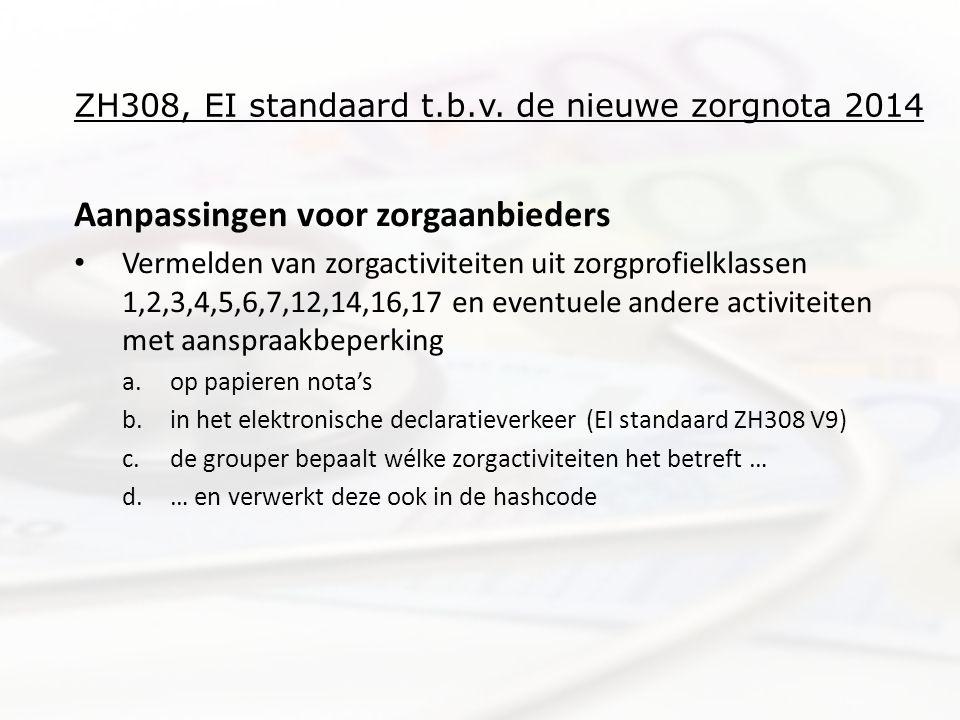 ZH308, EI standaard t.b.v. de nieuwe zorgnota 2014 Aanpassingen voor zorgaanbieders • Vermelden van zorgactiviteiten uit zorgprofielklassen 1,2,3,4,5,