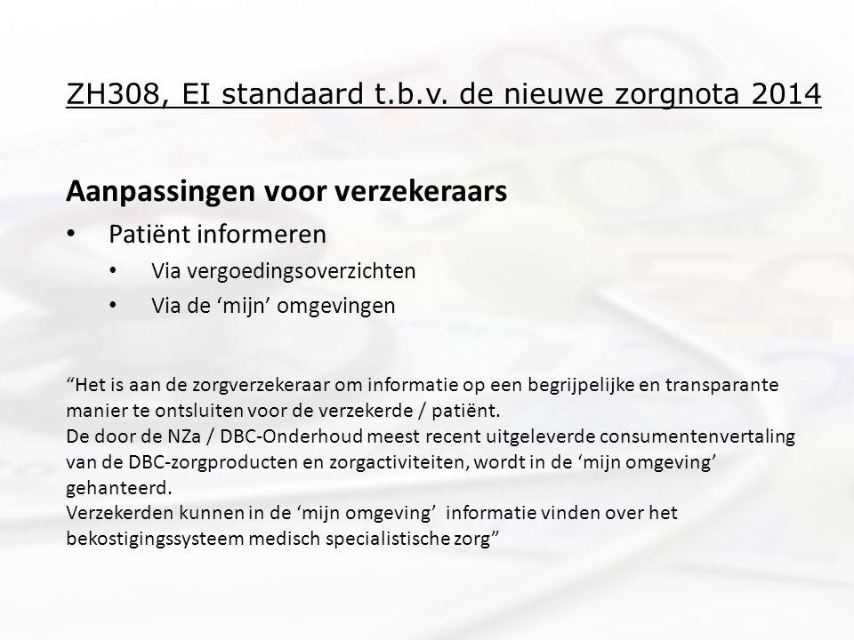 ZH308, EI standaard t.b.v. de nieuwe zorgnota 2014 Aanpassingen voor verzekeraars • Patiënt informeren • Via vergoedingsoverzichten • Via de 'mijn' om