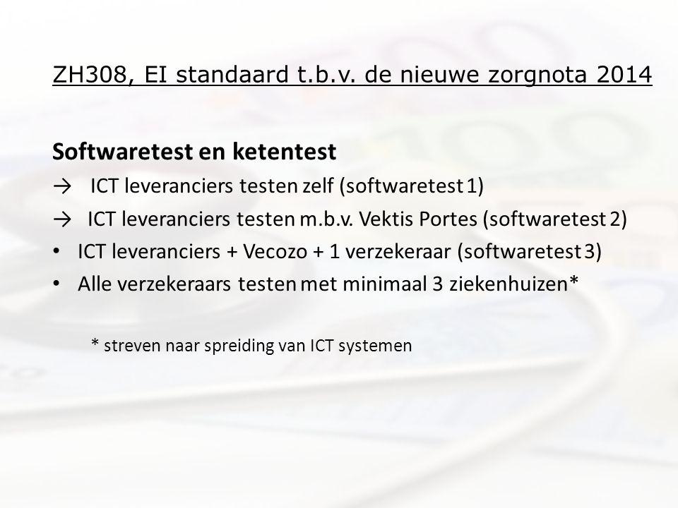 ZH308, EI standaard t.b.v. de nieuwe zorgnota 2014 Softwaretest en ketentest →ICT leveranciers testen zelf (softwaretest 1) → ICT leveranciers testen