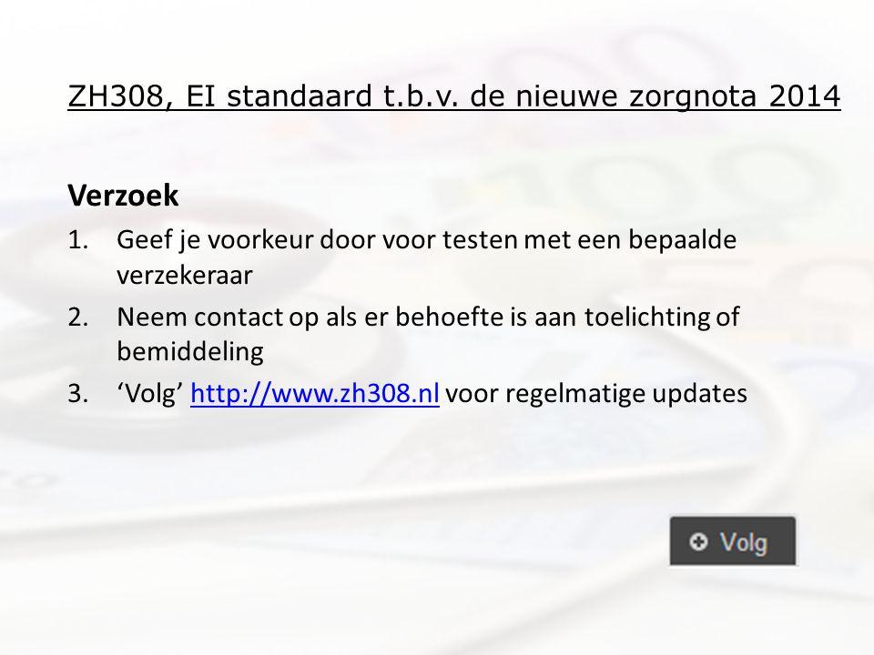 ZH308, EI standaard t.b.v. de nieuwe zorgnota 2014 Verzoek 1.Geef je voorkeur door voor testen met een bepaalde verzekeraar 2.Neem contact op als er b