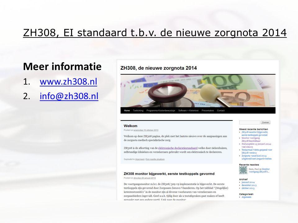 ZH308, EI standaard t.b.v. de nieuwe zorgnota 2014 Meer informatie 1.www.zh308.nlwww.zh308.nl 2.info@zh308.nlinfo@zh308.nl