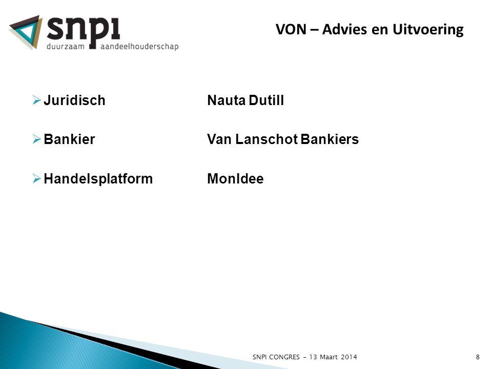 SNPI CONGRES - 13 Maart 20148 VON – Advies en Uitvoering  JuridischNauta Dutill  BankierVan Lanschot Bankiers  HandelsplatformMonIdee