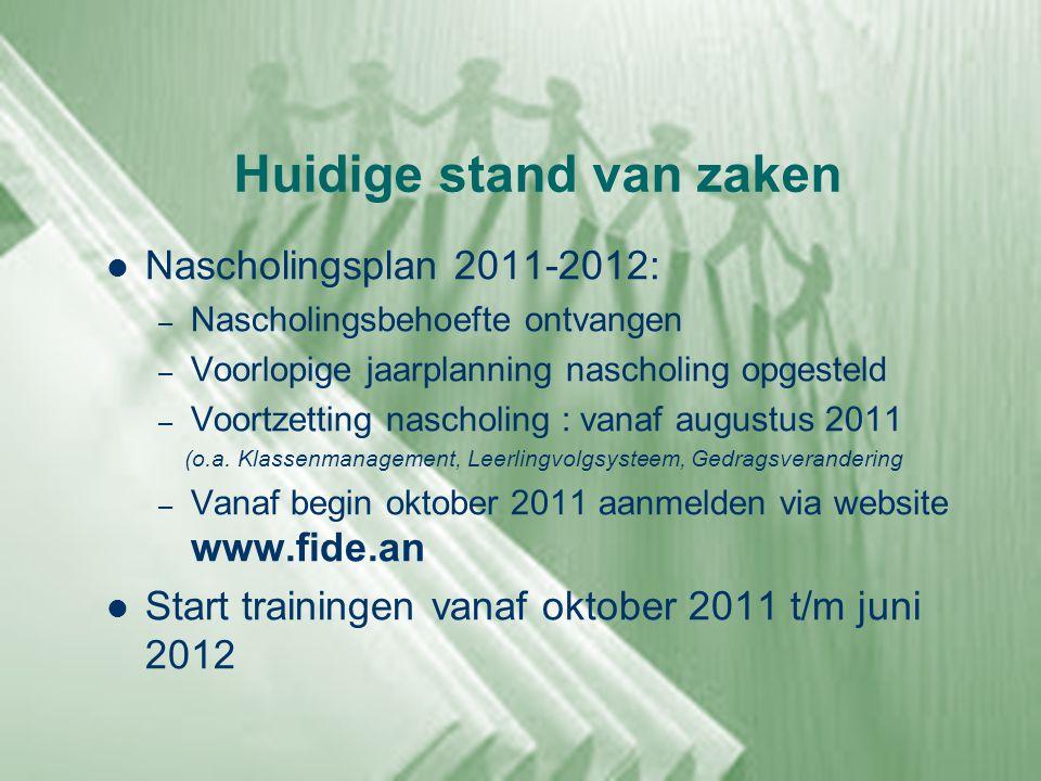 Huidige stand van zaken  Nascholingsplan 2011-2012: – Nascholingsbehoefte ontvangen – Voorlopige jaarplanning nascholing opgesteld – Voortzetting nas