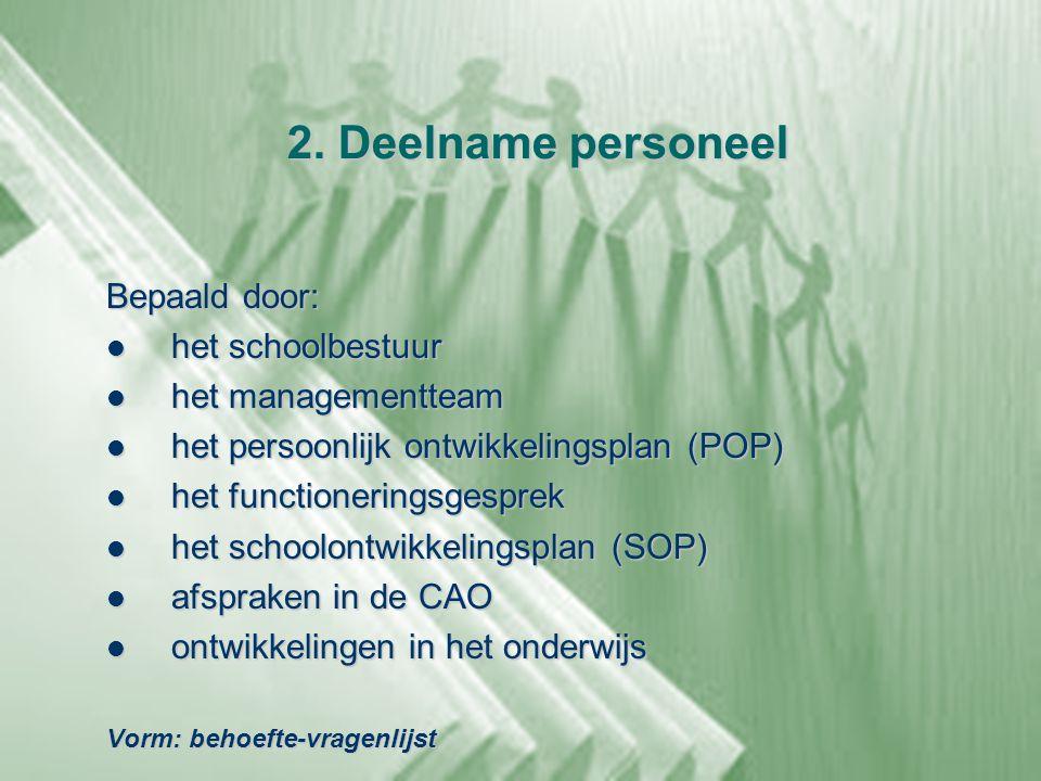 2. Deelname personeel Bepaald door:  het schoolbestuur  het managementteam  het persoonlijk ontwikkelingsplan (POP)  het functioneringsgesprek  h