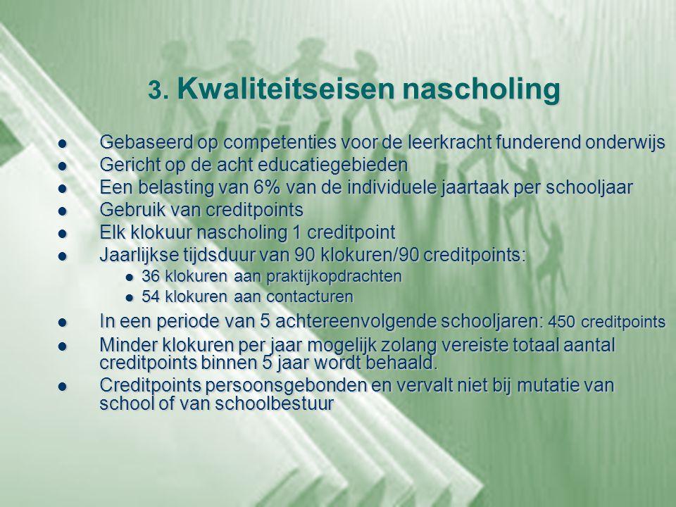 3. Kwaliteitseisen nascholing  Gebaseerd op competenties voor de leerkracht funderend onderwijs  Gericht op de acht educatiegebieden  Een belasting