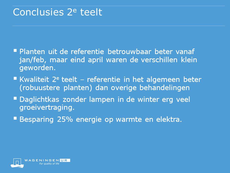 Conclusies 2 e teelt  Planten uit de referentie betrouwbaar beter vanaf jan/feb, maar eind april waren de verschillen klein geworden.  Kwaliteit 2 e