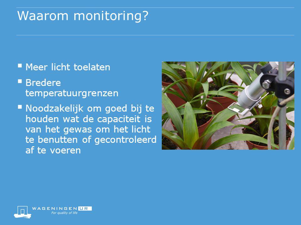 Waarom monitoring?  Meer licht toelaten  Bredere temperatuurgrenzen  Noodzakelijk om goed bij te houden wat de capaciteit is van het gewas om het l