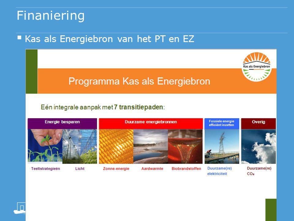 Financiering  Kas als Energiebron van het PT en EZ  Biosolar Cells Programma  Guardian (glas)  Ludvig Svensson (diffuus scherm)