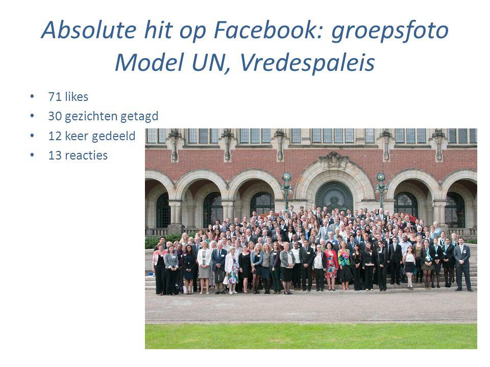 Absolute hit op Facebook: groepsfoto Model UN, Vredespaleis • 71 likes • 30 gezichten getagd • 12 keer gedeeld • 13 reacties