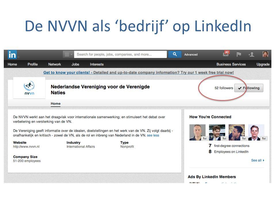 De NVVN als 'bedrijf' op LinkedIn