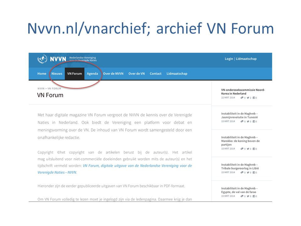 Nvvn.nl/vnarchief; archief VN Forum