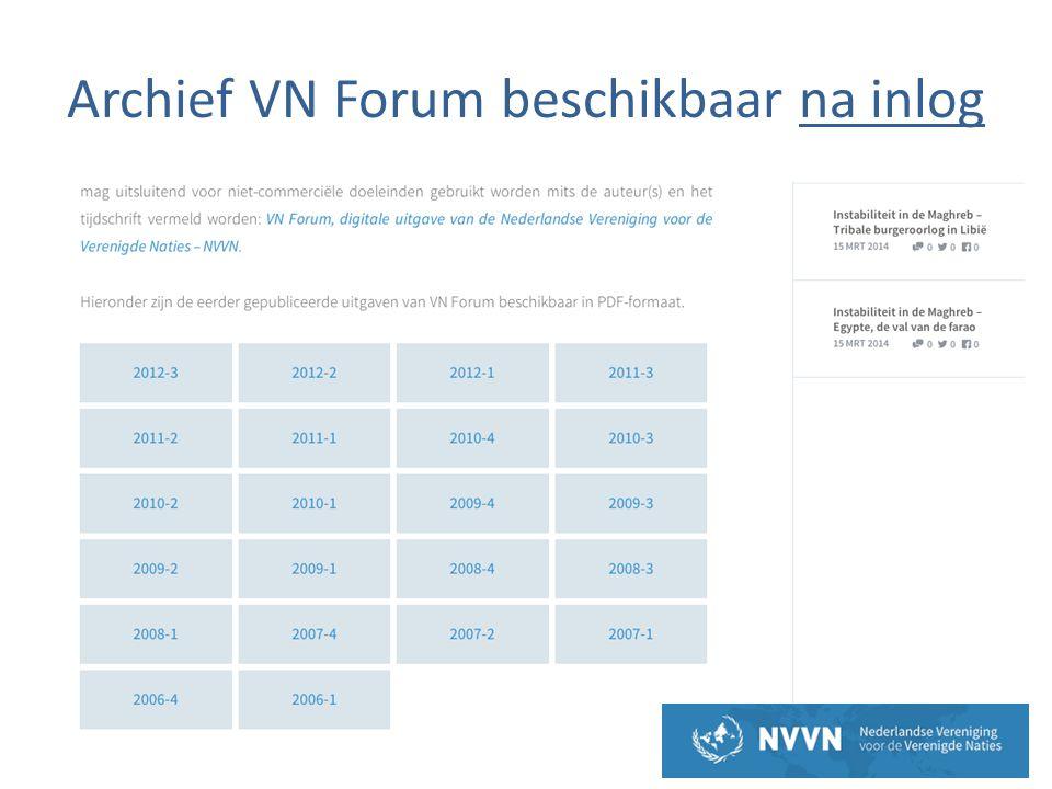 Archief VN Forum beschikbaar na inlog