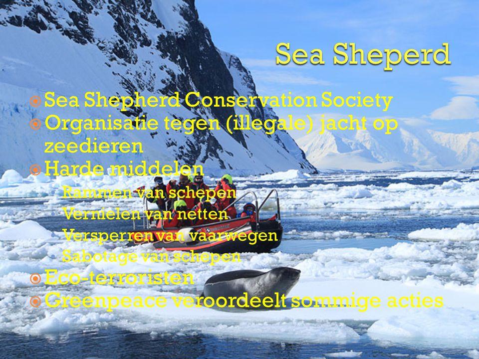 Sea Shepherd Conservation Society  Organisatie tegen (illegale) jacht op zeedieren  Harde middelen • Rammen van schepen • Vernielen van netten • V