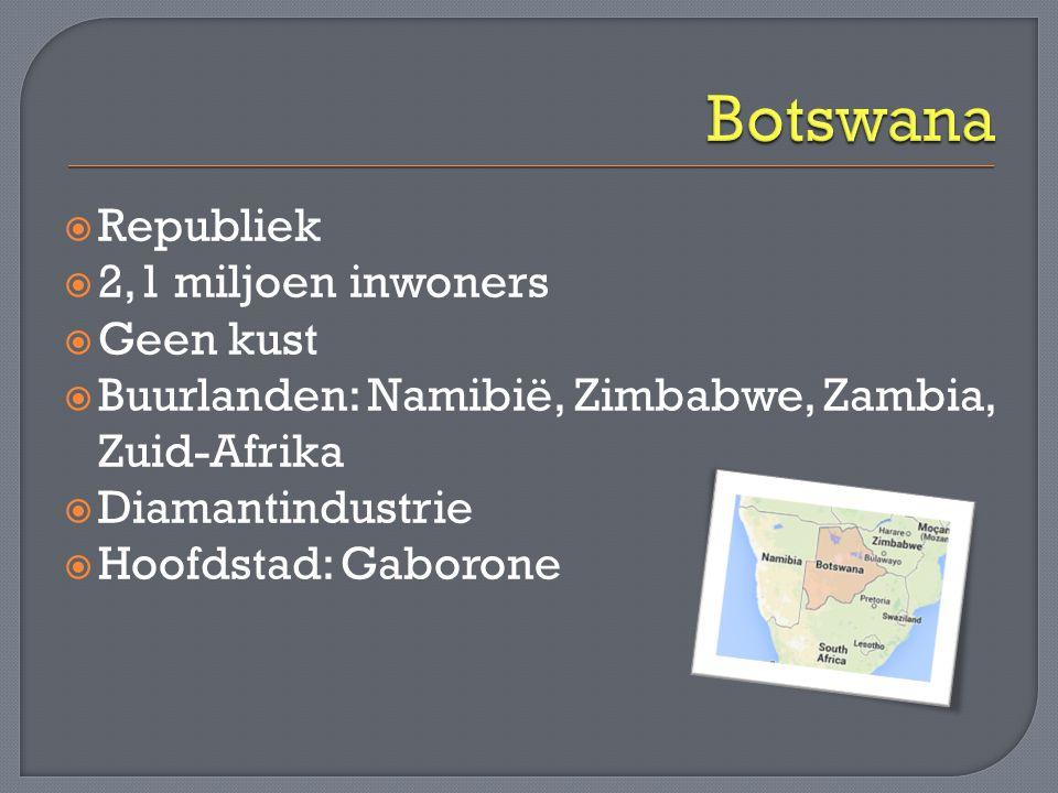  Republiek  2,1 miljoen inwoners  Geen kust  Buurlanden: Namibië, Zimbabwe, Zambia, Zuid-Afrika  Diamantindustrie  Hoofdstad: Gaborone