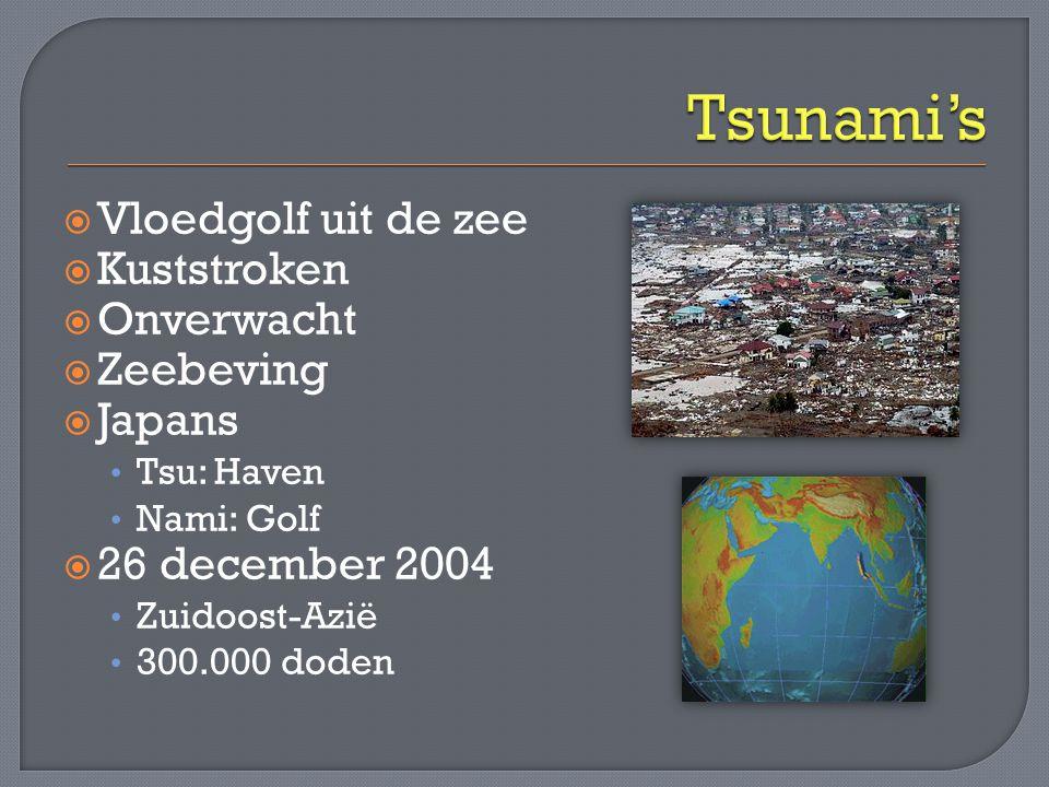  Vloedgolf uit de zee  Kuststroken  Onverwacht  Zeebeving  Japans • Tsu: Haven • Nami: Golf  26 december 2004 • Zuidoost-Azië • 300.000 doden