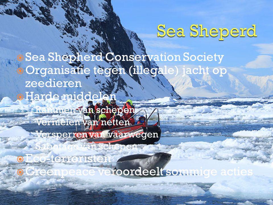  Sea Shepherd Conservation Society  Organisatie tegen (illegale) jacht op zeedieren  Harde middelen • Rammen van schepen • Vernielen van netten • Versperren van vaarwegen • Sabotage van schepen  Eco-terroristen  Greenpeace veroordeelt sommige acties