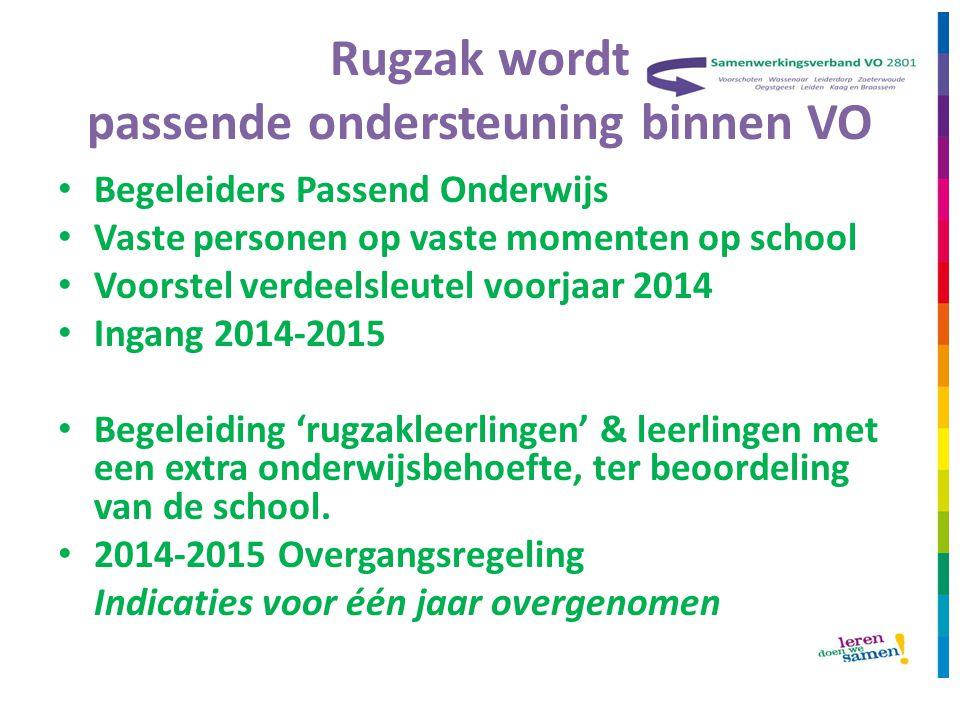 Rugzak wordt passende ondersteuning binnen VO • Begeleiders Passend Onderwijs • Vaste personen op vaste momenten op school • Voorstel verdeelsleutel v