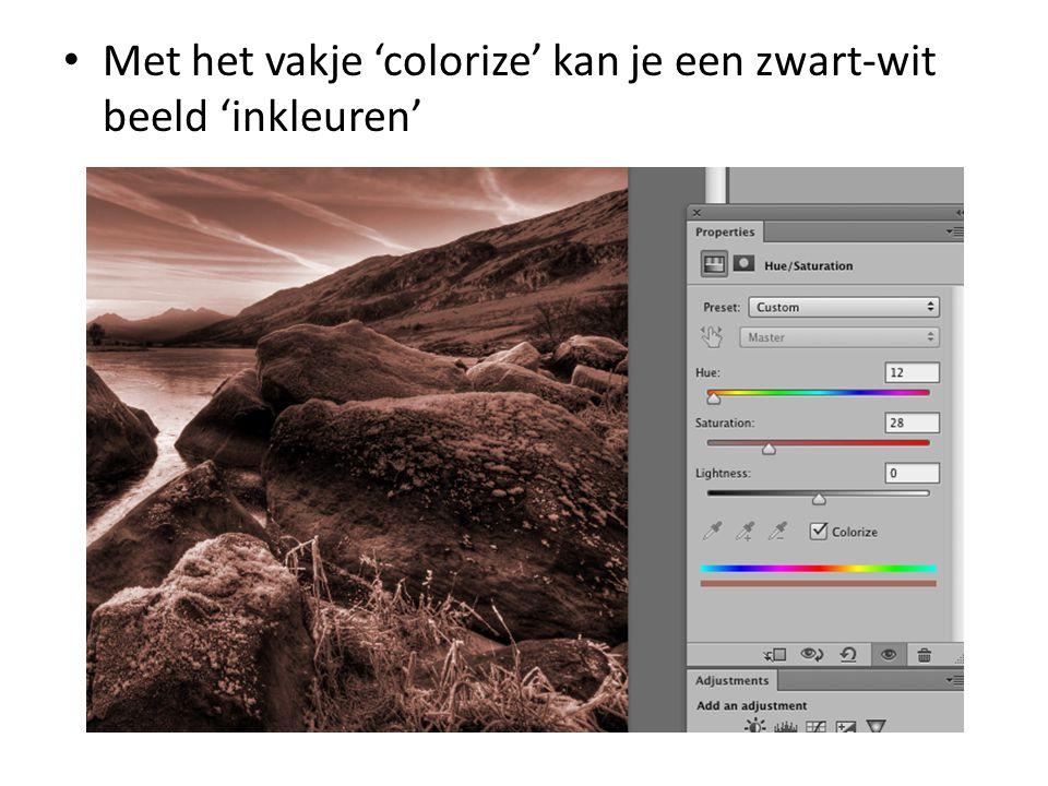 • Met het vakje 'colorize' kan je een zwart-wit beeld 'inkleuren'