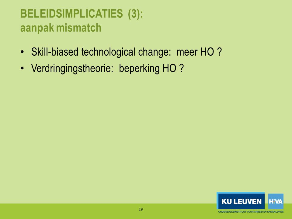 BELEIDSIMPLICATIES (3): aanpak mismatch • Skill-biased technological change: meer HO .