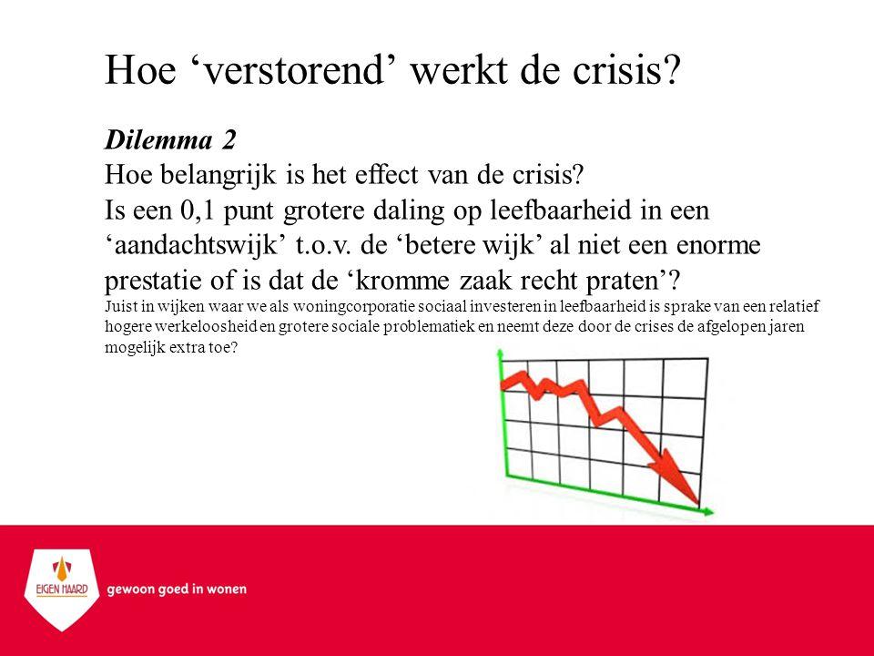 Hoe 'verstorend' werkt de crisis? Dilemma 2 Hoe belangrijk is het effect van de crisis? Is een 0,1 punt grotere daling op leefbaarheid in een 'aandach