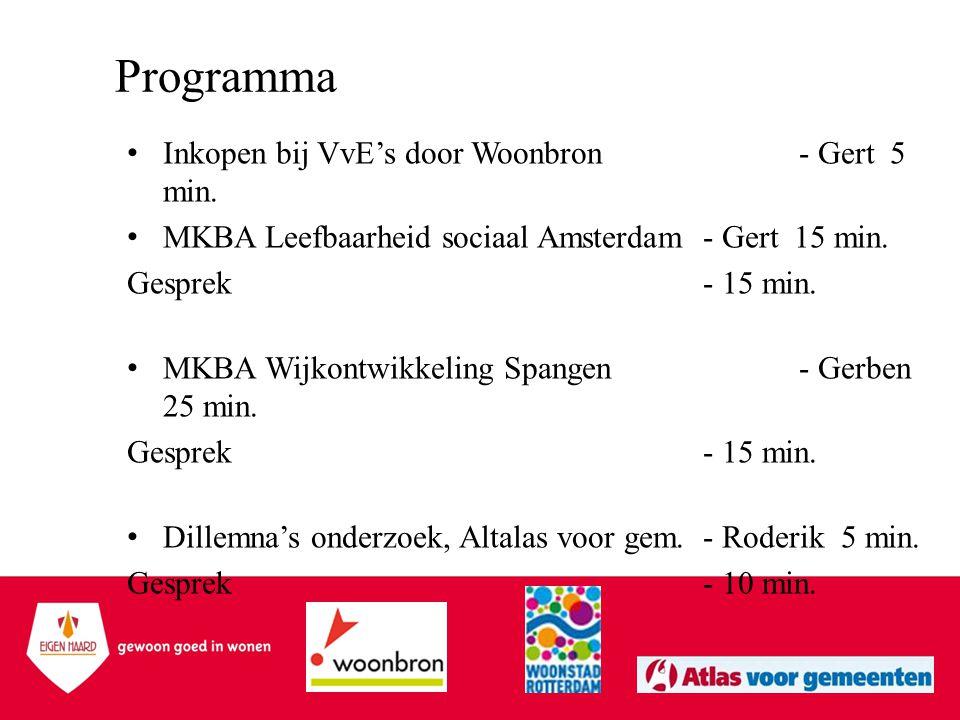 Programma •Inkopen bij VvE's door Woonbron - Gert 5 min. •MKBA Leefbaarheid sociaal Amsterdam - Gert 15 min. Gesprek- 15 min. •MKBA Wijkontwikkeling S