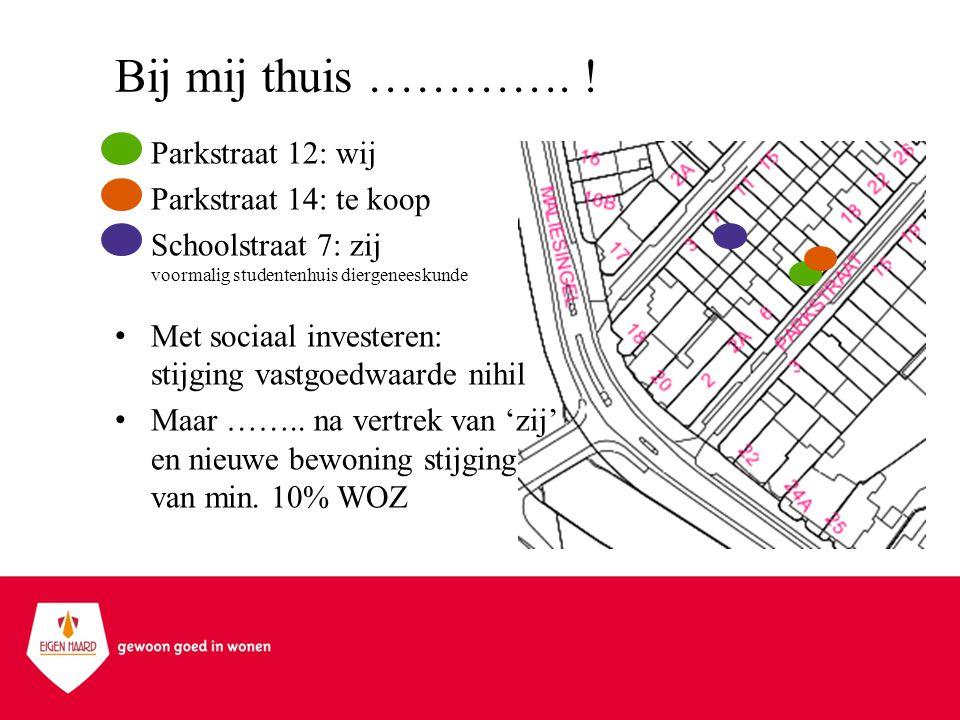Bij mij thuis …………. ! •Parkstraat 12: wij •Parkstraat 14: te koop •Schoolstraat 7: zij voormalig studentenhuis diergeneeskunde •Met sociaal investeren