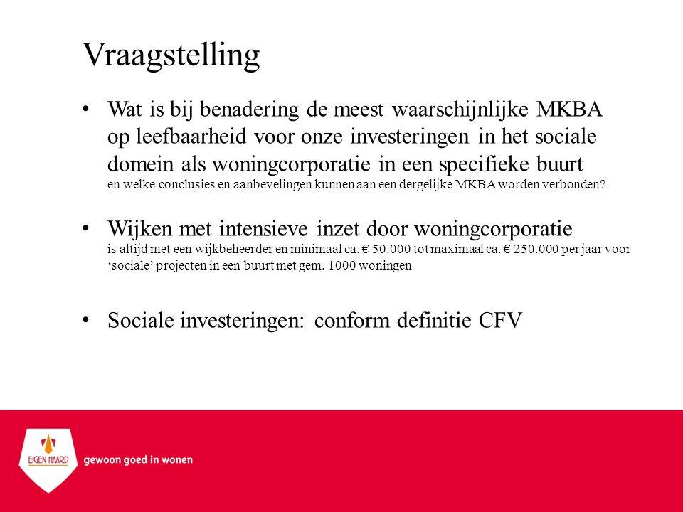 Vraagstelling •Wat is bij benadering de meest waarschijnlijke MKBA op leefbaarheid voor onze investeringen in het sociale domein als woningcorporatie