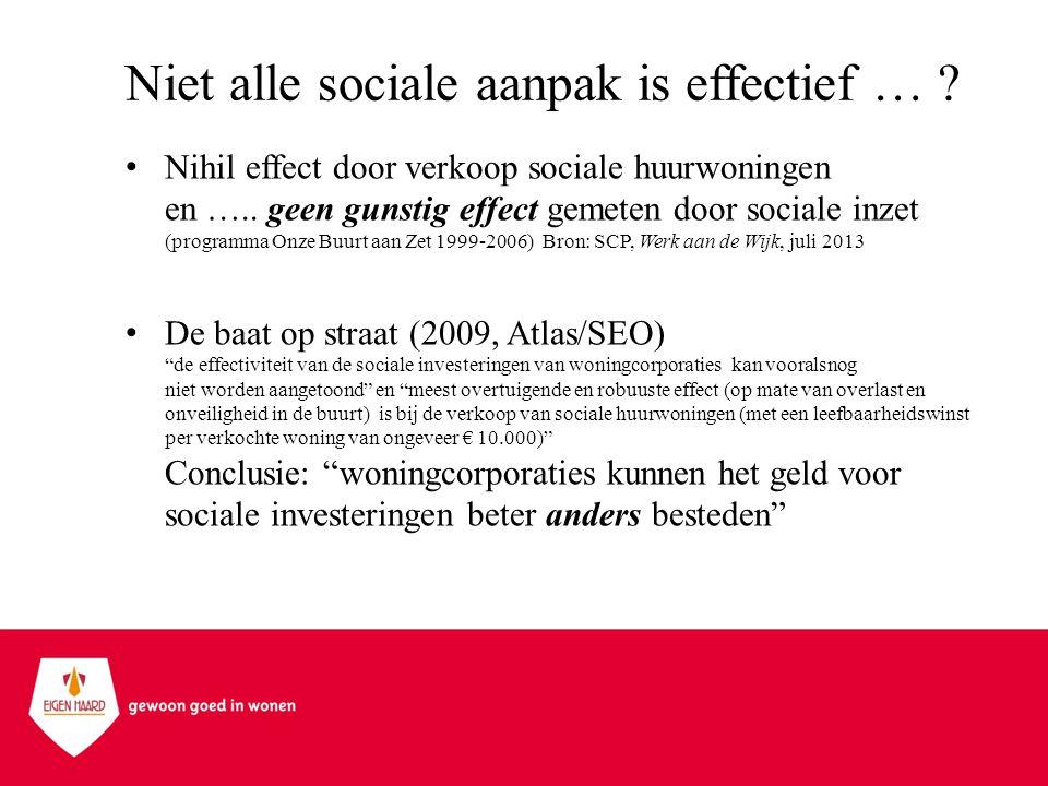 Niet alle sociale aanpak is effectief … ? •Nihil effect door verkoop sociale huurwoningen en ….. geen gunstig effect gemeten door sociale inzet (progr