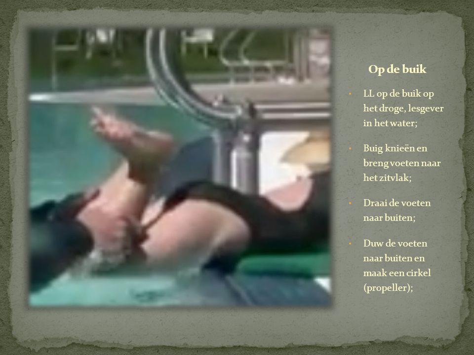 • LL op de buik op het droge, lesgever in het water; • Buig knieën en breng voeten naar het zitvlak; • Draai de voeten naar buiten; • Duw de voeten naar buiten en maak een cirkel (propeller);