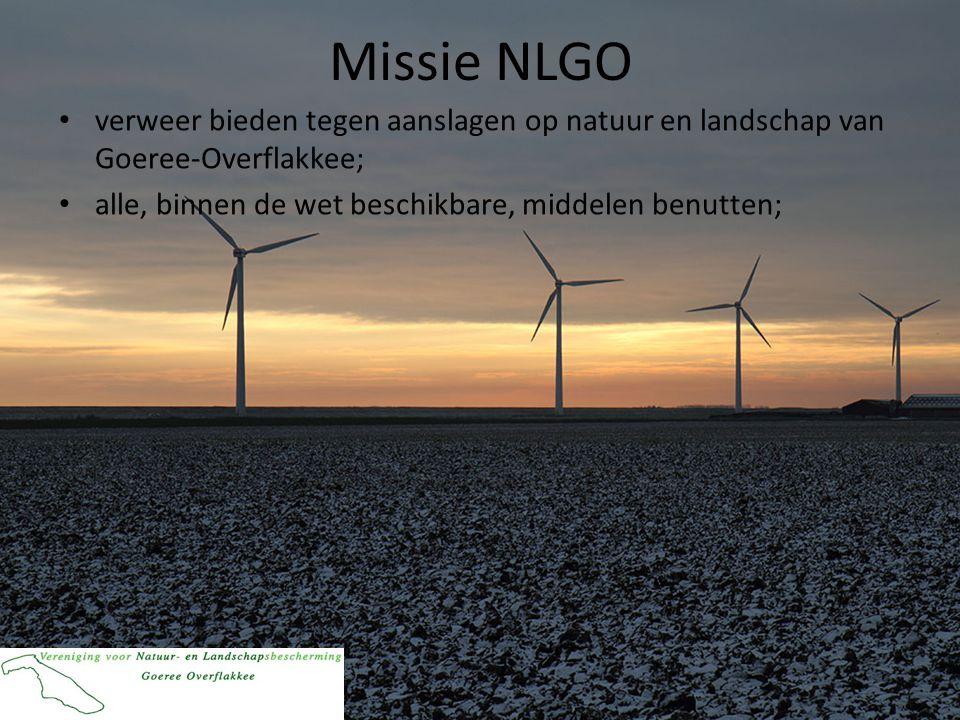 Missie NLGO • verweer bieden tegen aanslagen op natuur en landschap van Goeree-Overflakkee; • alle, binnen de wet beschikbare, middelen benutten;