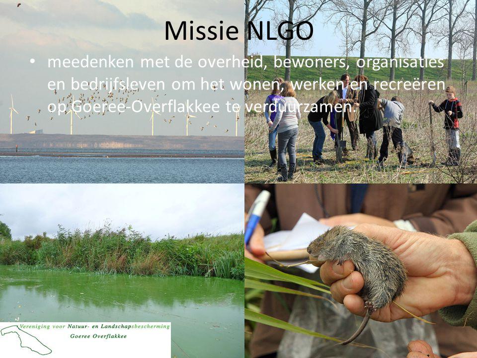 Missie NLGO • meedenken met de overheid, bewoners, organisaties en bedrijfsleven om het wonen, werken en recreëren op Goeree-Overflakkee te verduurzamen.