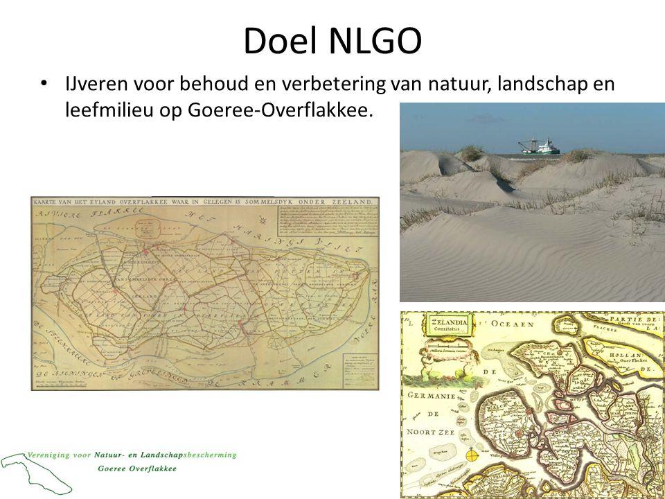 Missie NLGO • streven naar natuur en landschap van hoge kwaliteit op en rond Goeree-Overflakkee, gerespecteerd door iedereen; – Eiland in een vitale delta; – Met een bescherm(en)de kust; – En een rijk polderlandschap.